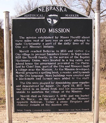The Oto Mission Historical Marker is just off Highway 75