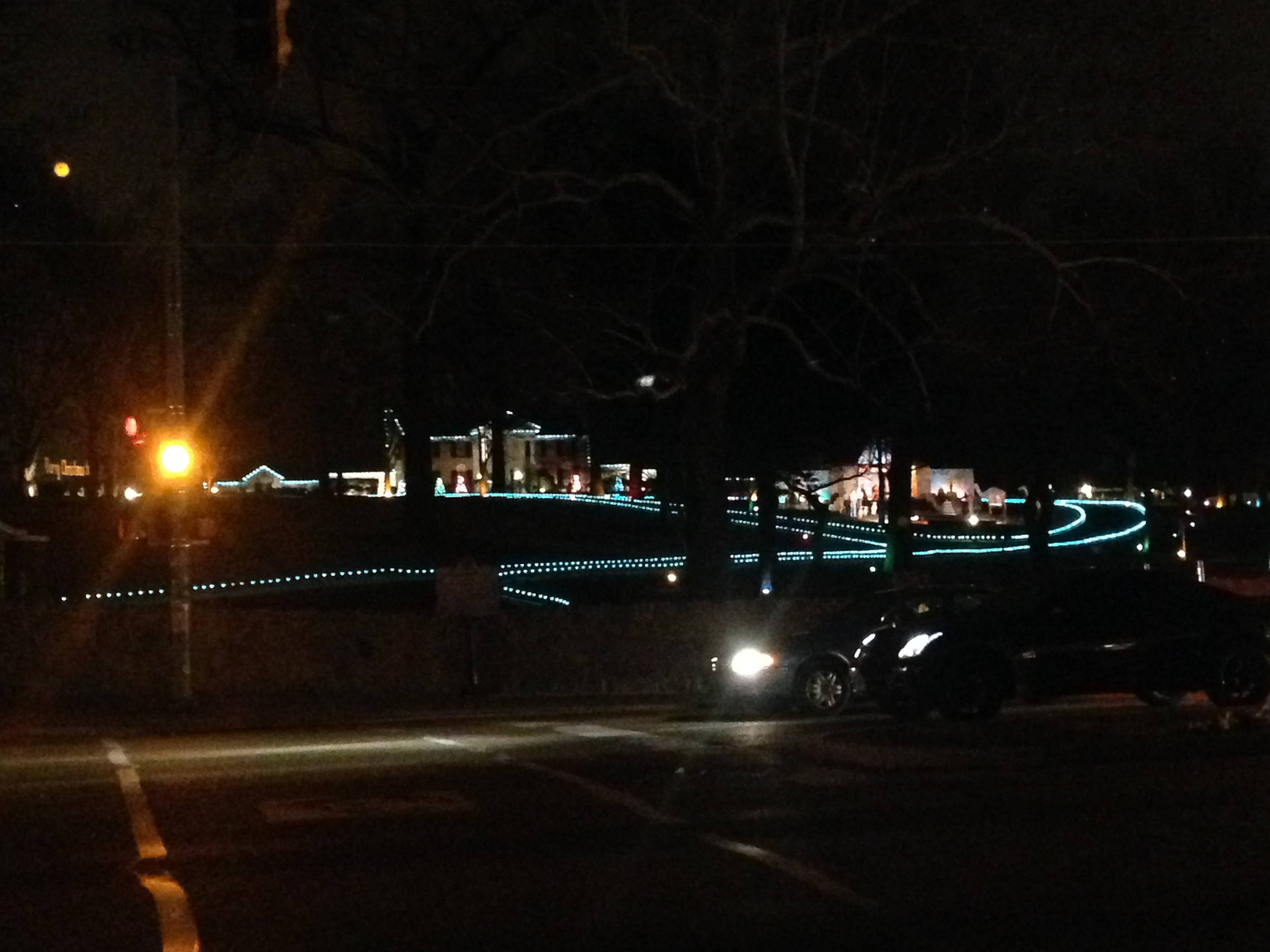 Graceland lit up with Christmas lights