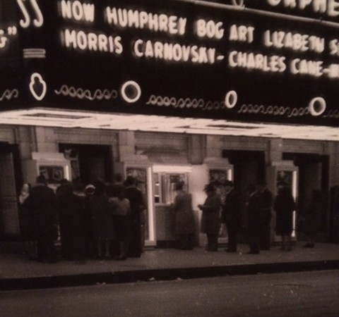Undated street-view of people in line for tickets