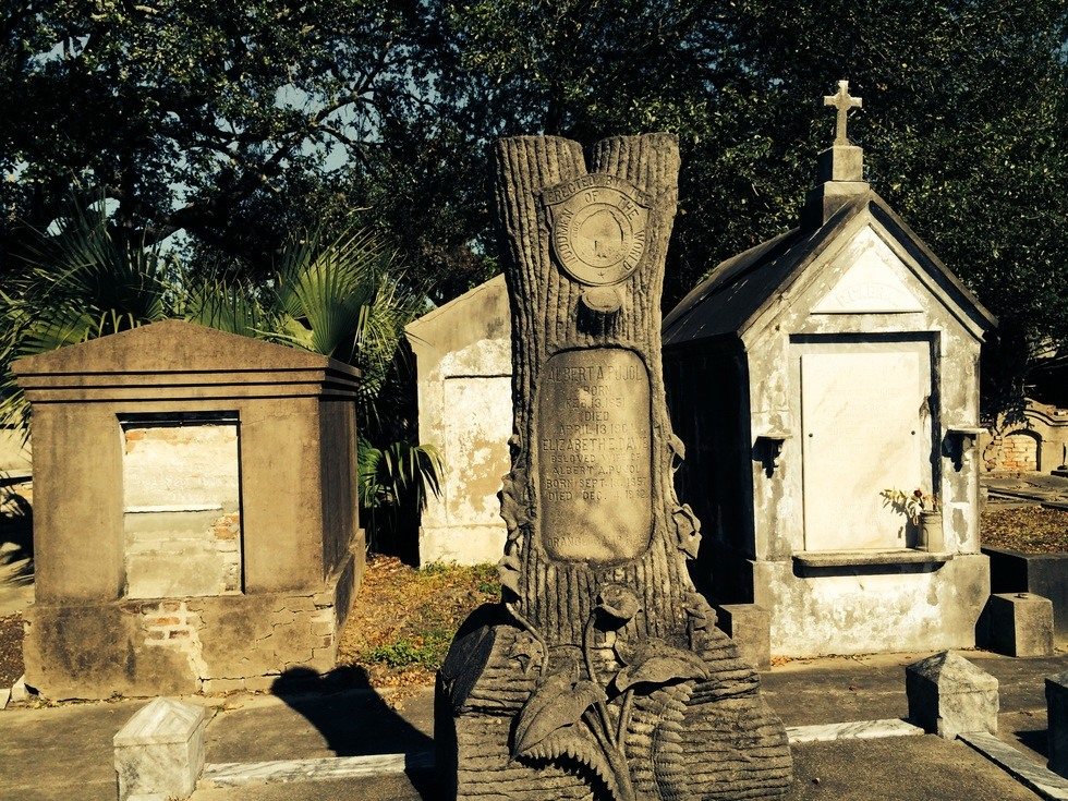 Some of the cemetery's unique tombs with Odd Fellow symbols