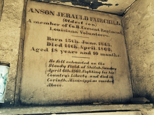 Resting place of Anson Fairchild. One of the few Odd Fellow/military tombs found within. After being killed in the 1862 Battle of Shiloh, his body was retuned for burial in his hometown