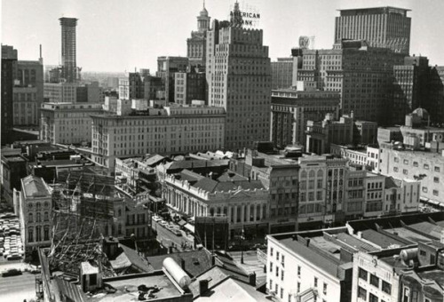 The Tower Plaza, in the background, under construction. Circa 1966-1968