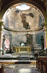 Fire damage to the altar, 2003