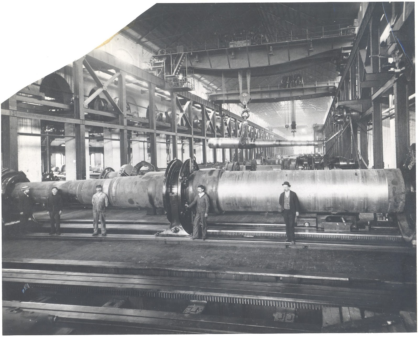 This 1902 photograph reveals the size of the 16-inch guns produced at Watervliet.