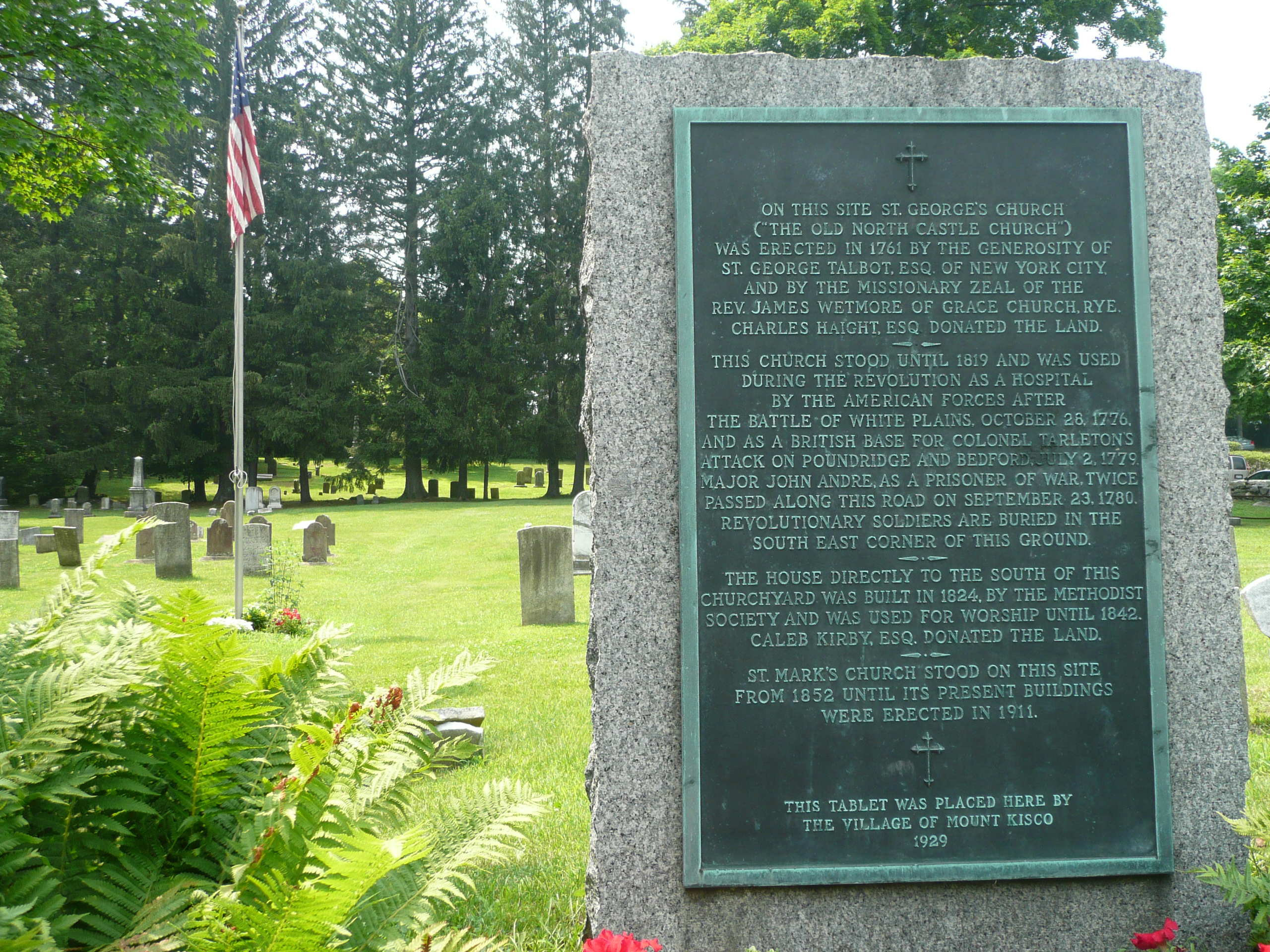 Tablet explaining the history of St. Mark's Cemetery.