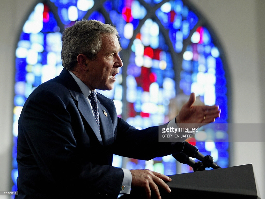 President George W. Bush speaking at the church in 2004