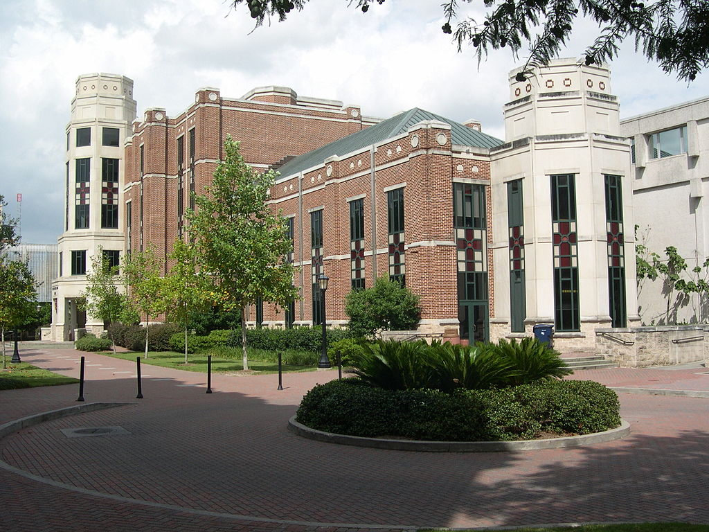 The south-west side of J. Edgar and Louise S. Monroe Library
