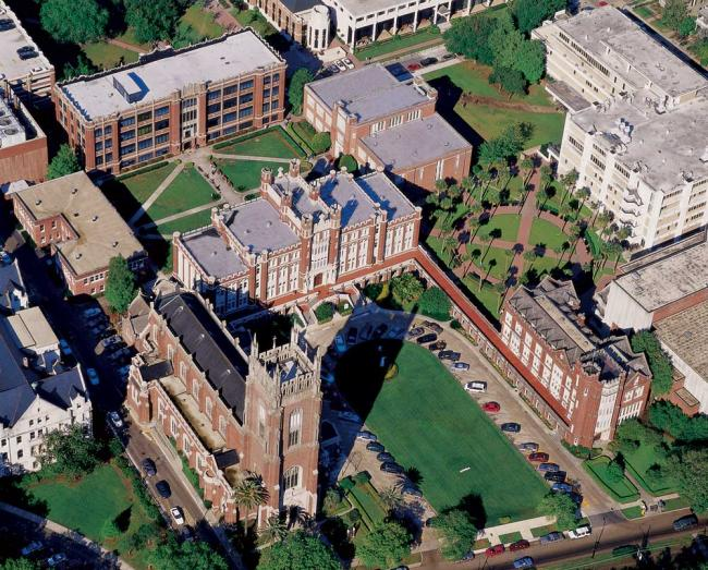 Aerial view of most of Loyola campus