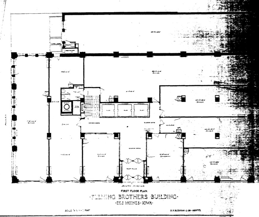 Original first floor plan for Fleming Brothers Building by Burnham's firm in 1907