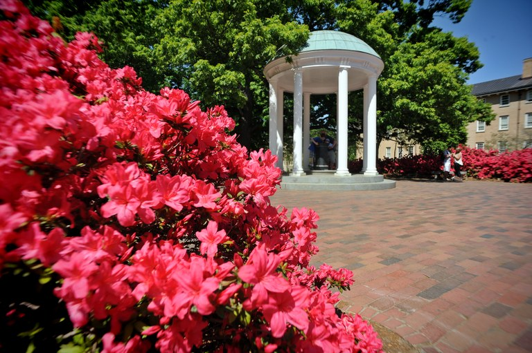 The Old Well is located in central campus and is the best-known symbol of the university (source: http://www.med.unc.edu/psych/images/old-well-close-flowers/view)