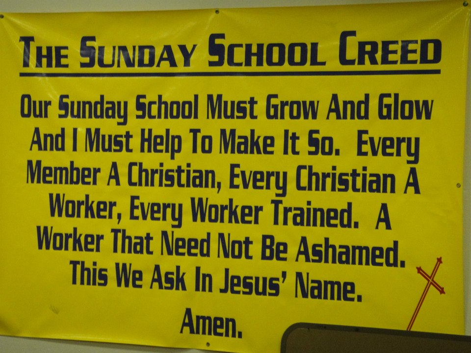 Sunday School Creed on the church's interior