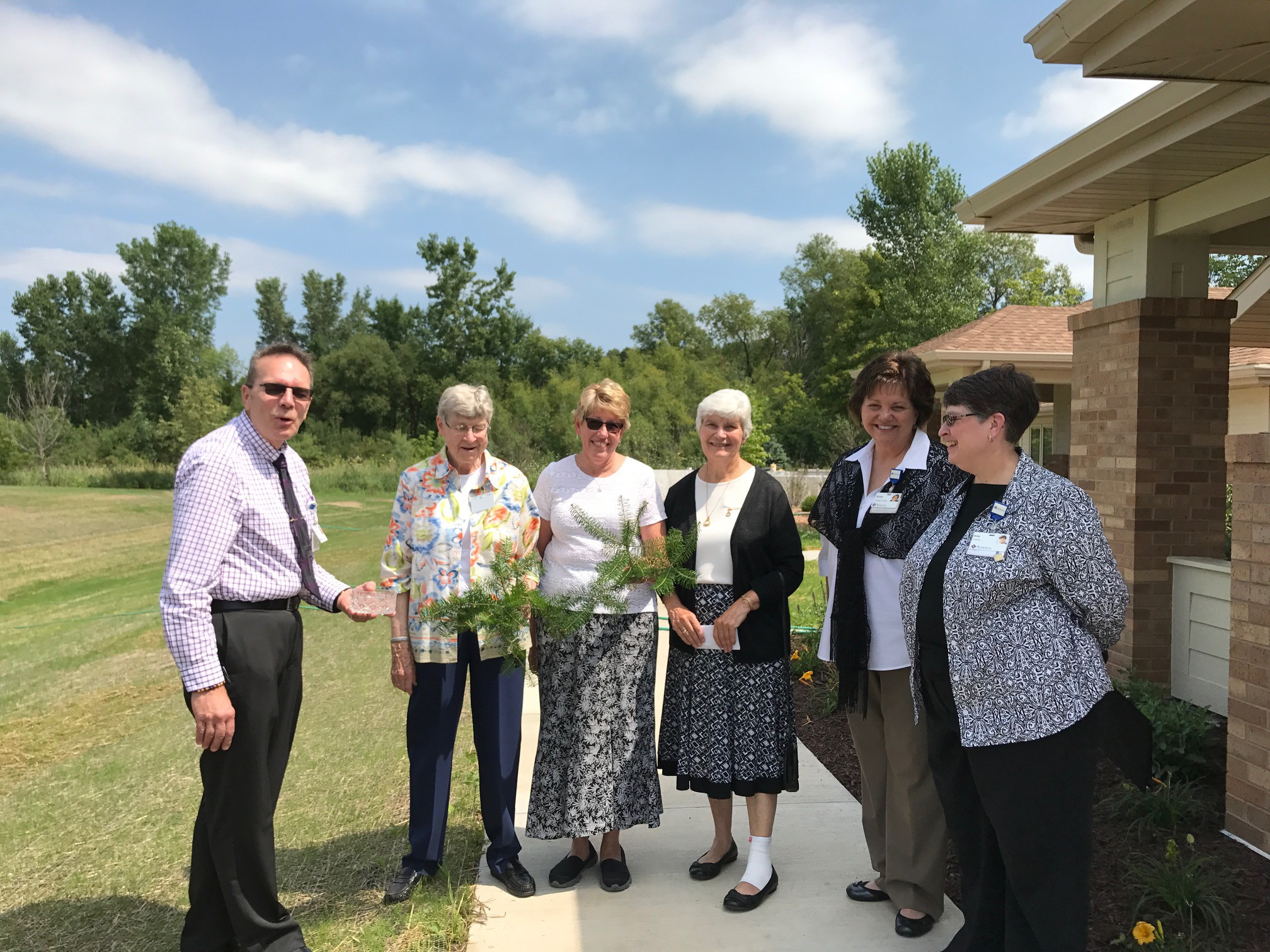 Blessing of Hospice Home of Hope addition, 2017.  Left to right:  Michael Schaefer, Sister Anne Jude Van Lanen, Char Bohnsack, RN, Sister Jean Steffes, Karen Kraus, and Sister Amy Golms.