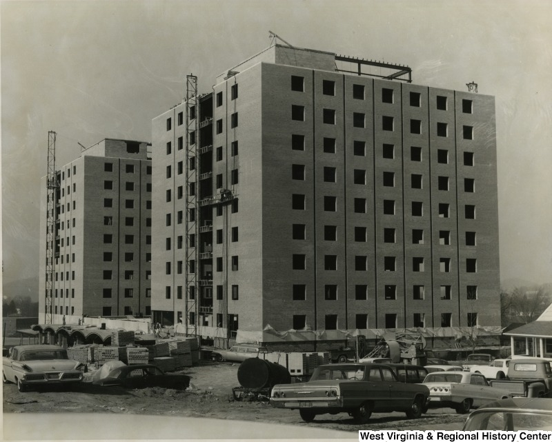 Two of the Towers dormitory buildings under construction, early 1960s.  Photo courtesy of the West Virginia and Regional History Center, WVU Libraries.