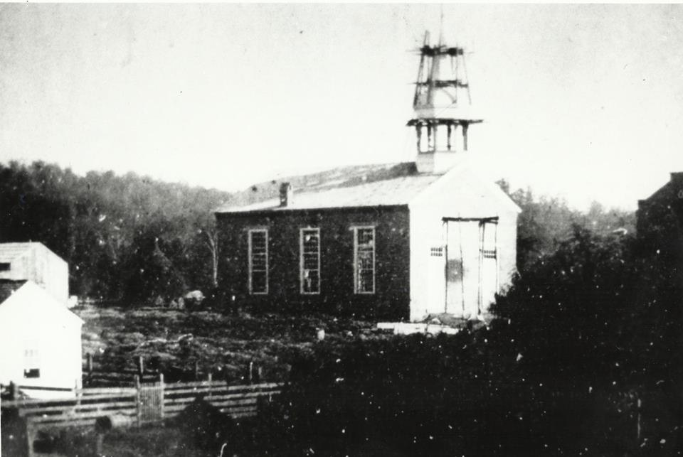 Buffalo Presbyterian Church being built in 1857.