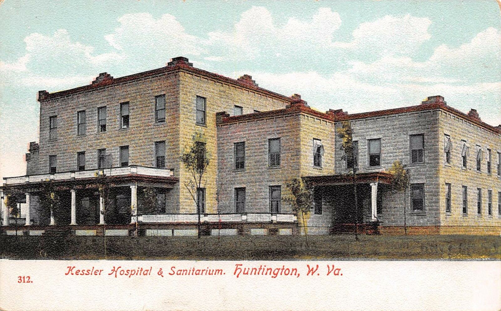 Postcard of the first Kessler Hospital and Sanitarium