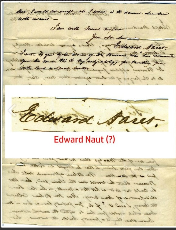 1846 letters mailed to a Washington, PA attorney from Naret regarding legal matters