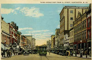A vintage postcard depicting this block of 3rd Avenue prior to Urban Renewal.