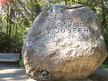 Stone to mark the area of Fort St. Joseph.