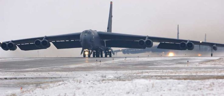 Landing of a B-52 on the expanded airstrip.