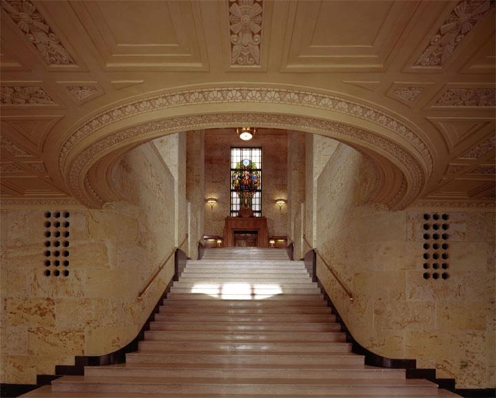 The library's grand marble staircase leads to its equally grand Great Hall.