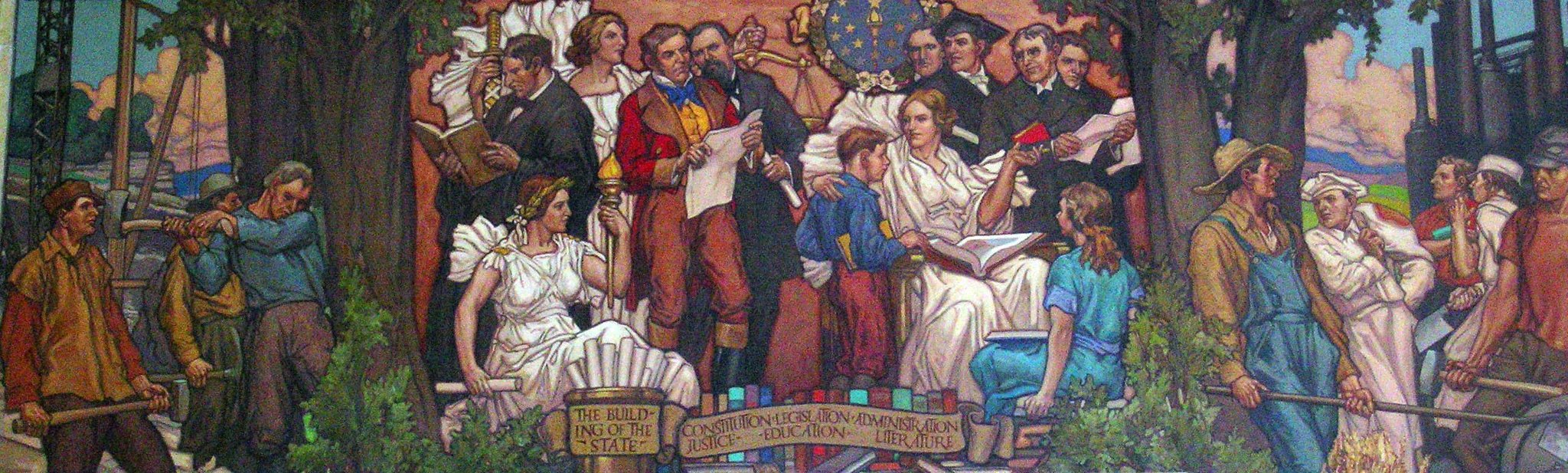 """One of the murals within the library painted by J. Scott Williams,  This one is entitled """"The Building of the State."""""""