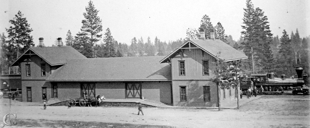 Early image of the depot with a wood burning locomotive, dating the image to most likely prior to 1890.