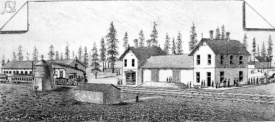 1884 drawing depicting the depot, at right, and the Northern Pacific Railway freight depot on the left.
