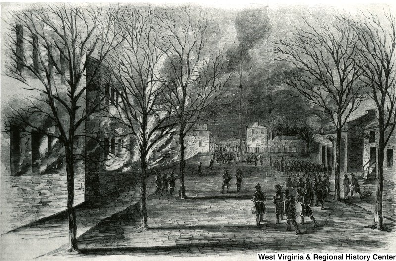 The burning of Harpers Ferry Armory in 1861. Courtesy of West Virginia and Regional History Center, WVU Libraries.