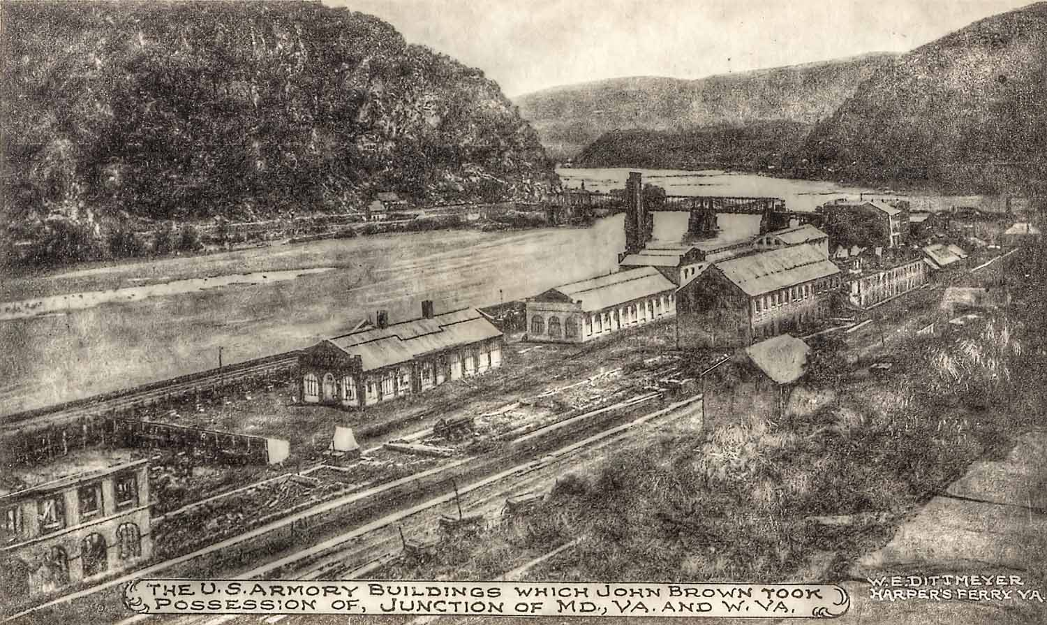 Depiction of some of the armory buildings. Courtesy of the Harpers Ferry-Bolivar Historic Town Foundation.