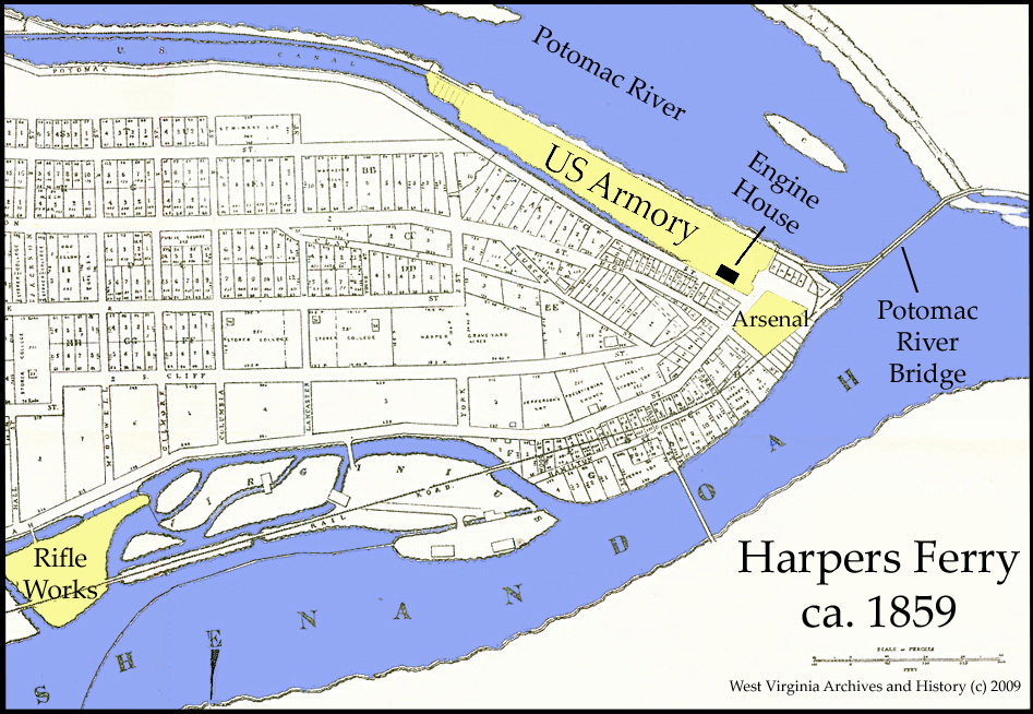 This map depicts the location of the Harpers Ferry Armory, as well as the arsenal and rifle works. Image obtained from the West Virginia Division of Culture and History.