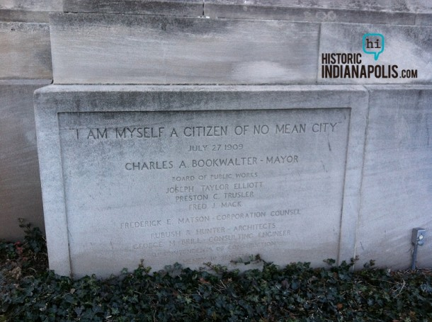 Old city Hall's cornerstone with a quote attributed to former Mayor Charles Bookwalter.