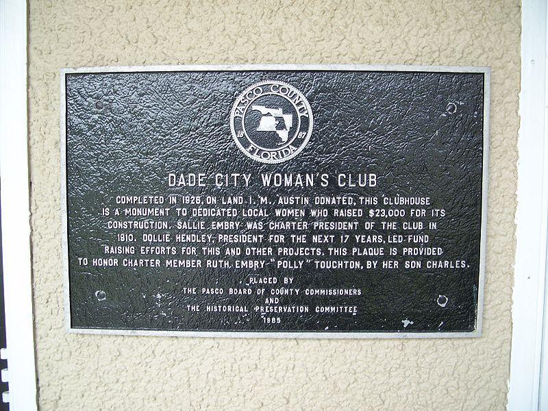 Dade City Women's Club Plaque.