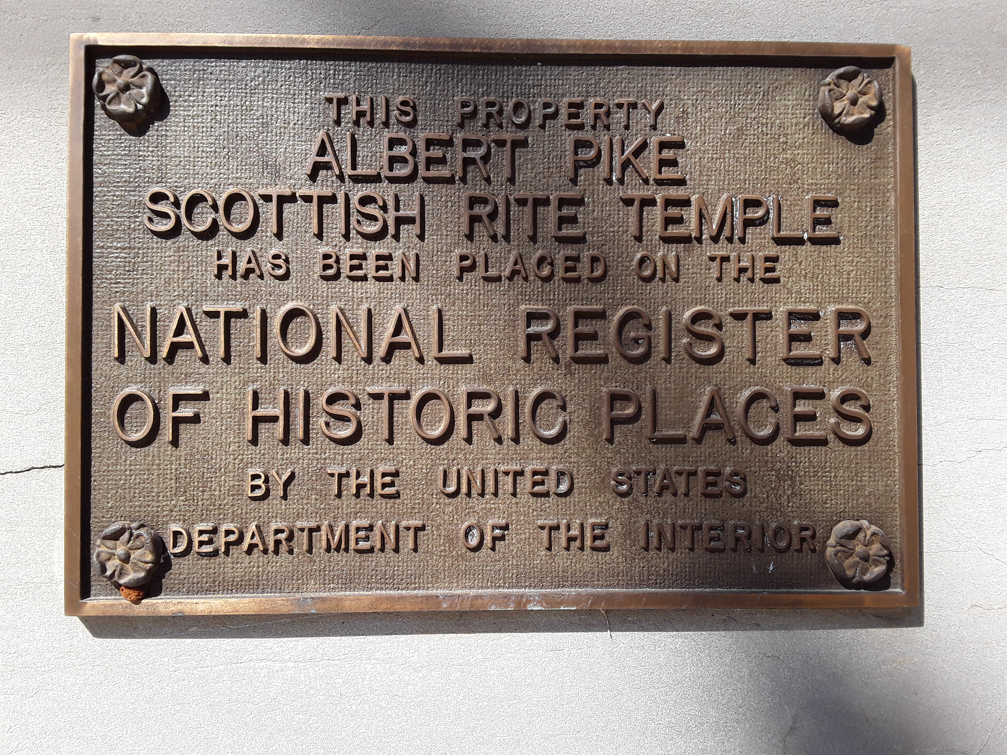 Plaque Indicating Inclusion on the National Register of Historic Places