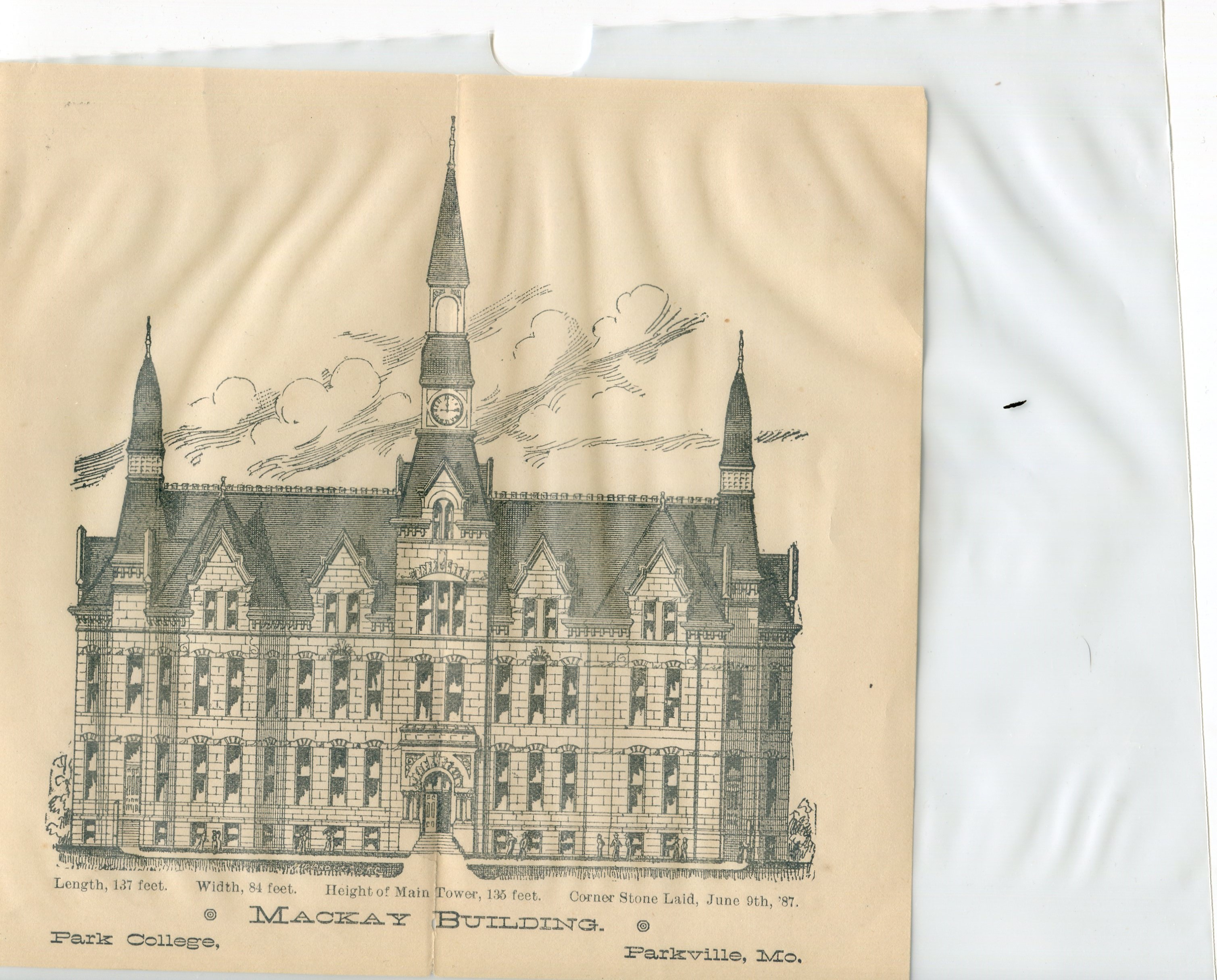 The concept drawing of what Mackay Hall would look like when it was completed