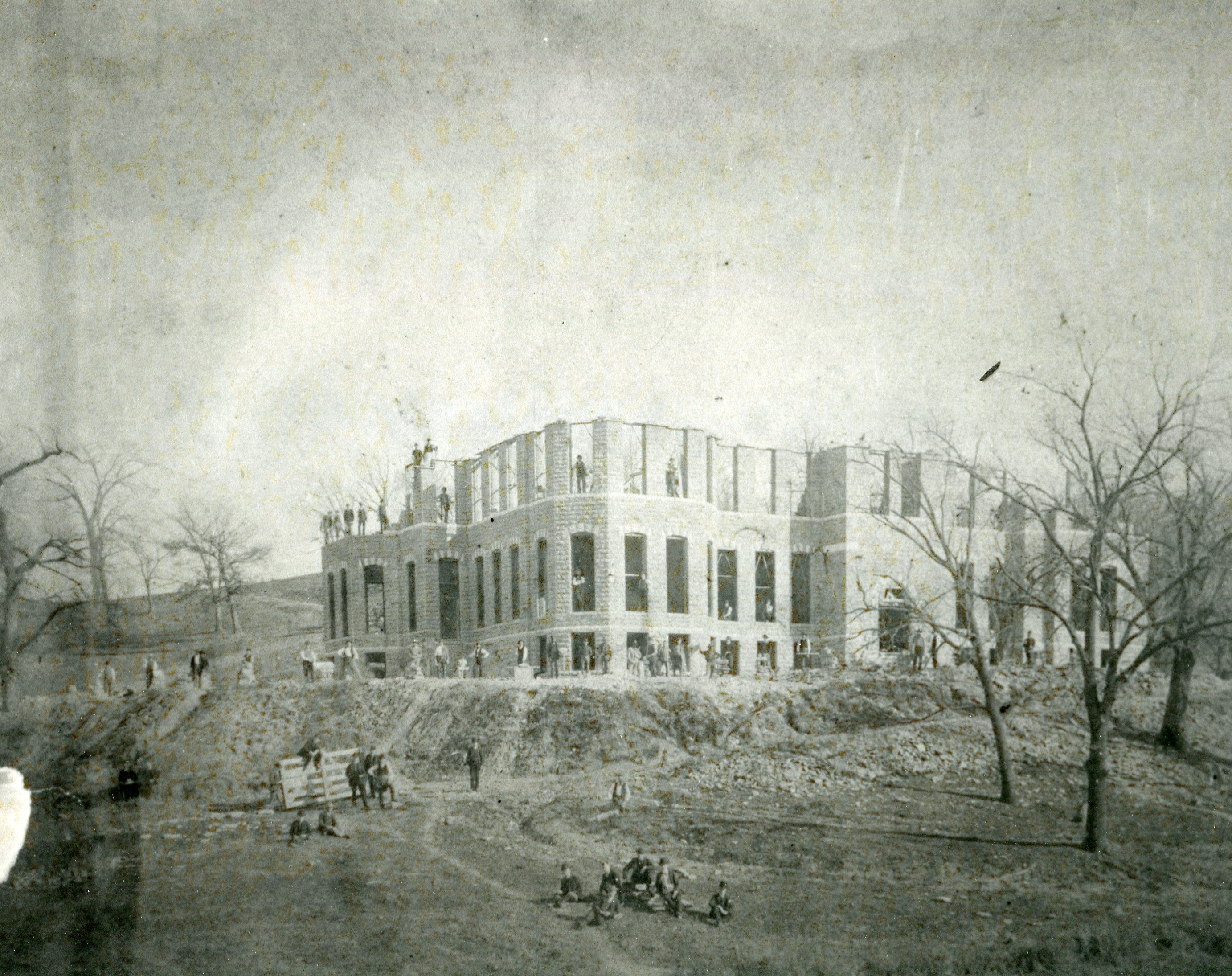 Mackay Hall under construction in 1889