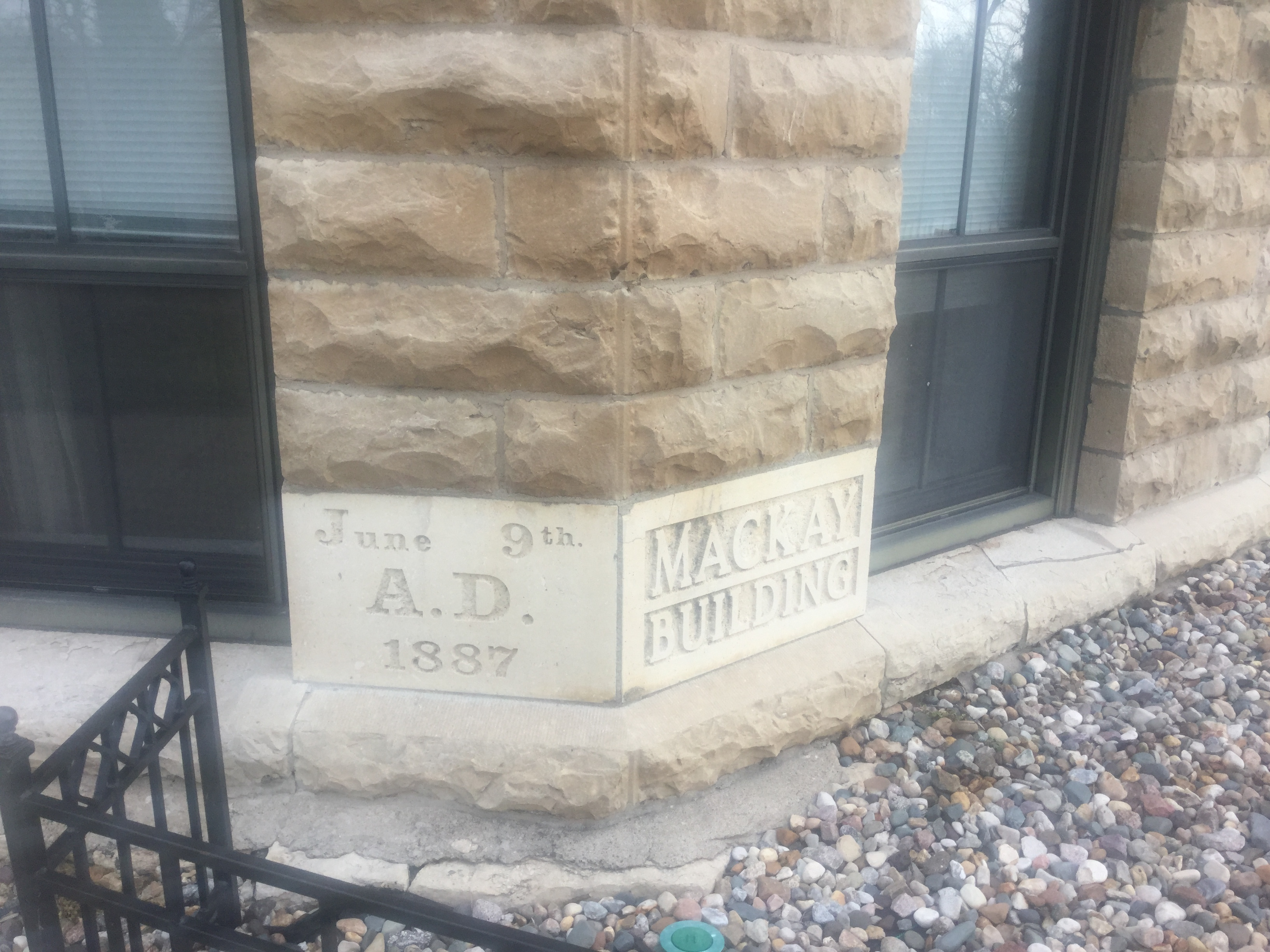The MacKay cornerstone which was replaced during renovations
