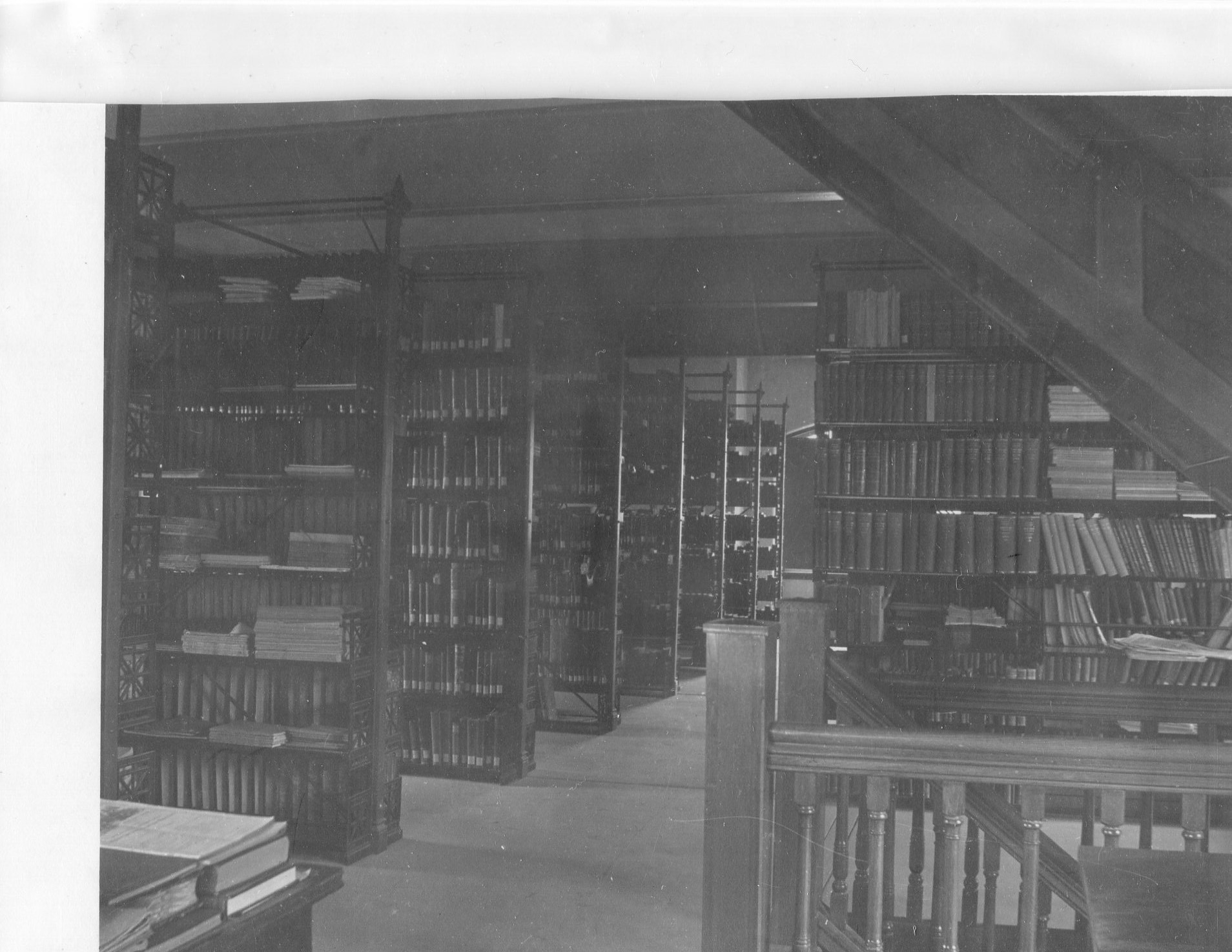 The inside of the library stacks