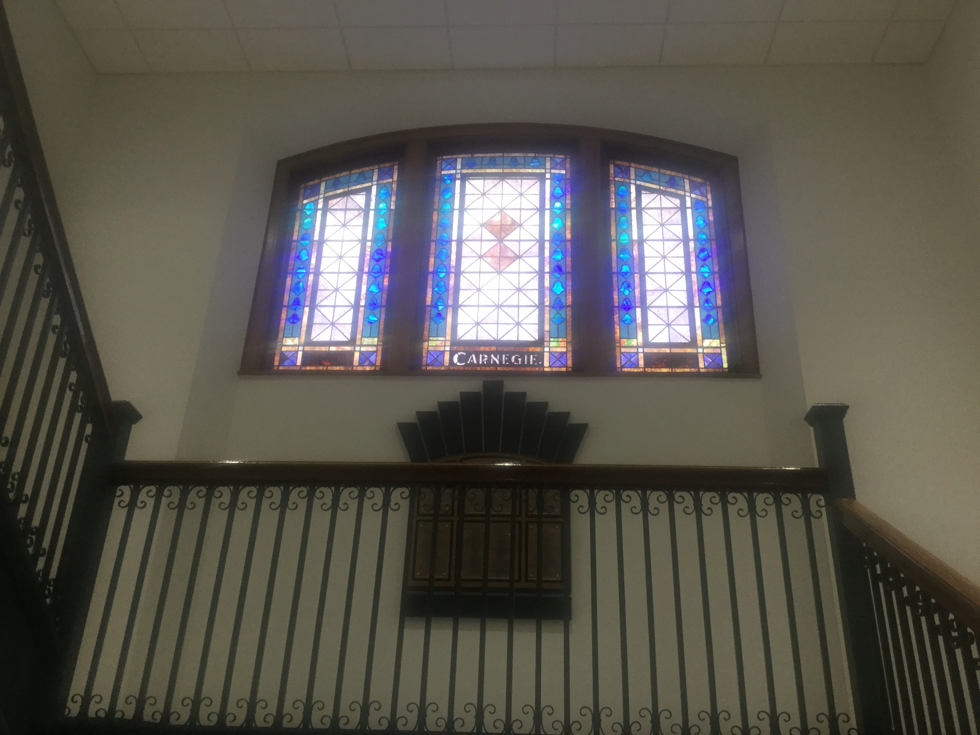 The stained glass window in the foyer of Norrington.