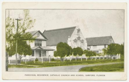 This rare photographic postcard above, shows the rectory built in early 1911, the first church (constructed in 1887) and convent/school.