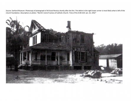 The photo was taken at the time of the church fire by the Sanford Fire Department.