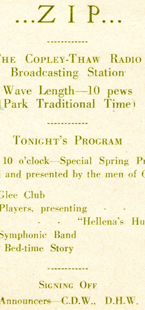 A brochure detailing the Copley-Thaw Radio Show