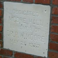 Plaque dedicated to Dr. Peter W Moore