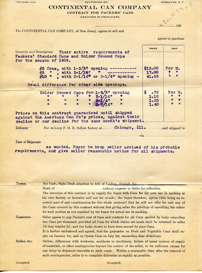 Document from 1908 of the contract and requirements of Packers' Cans during 1909.