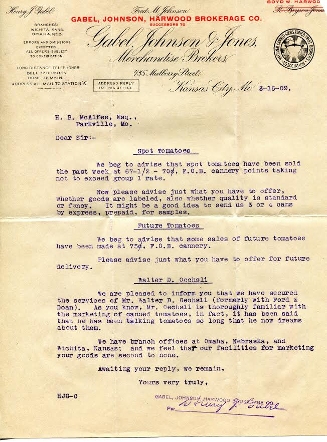 Letter from H.B. McAfee describing the sales of tomatoes at the college and acquiring Walter D. Oechsli, an expert in marketing canned tomatoes.