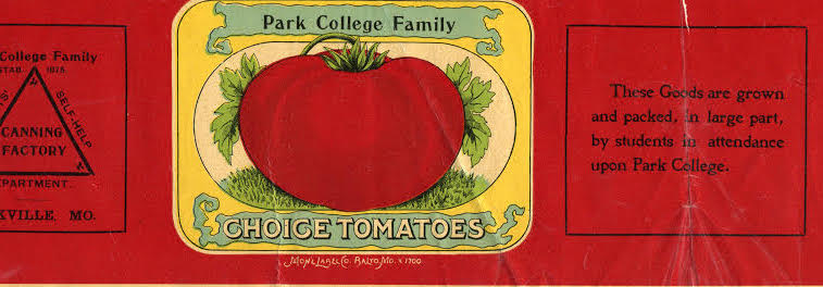 An old can label for Park College tomatoes.