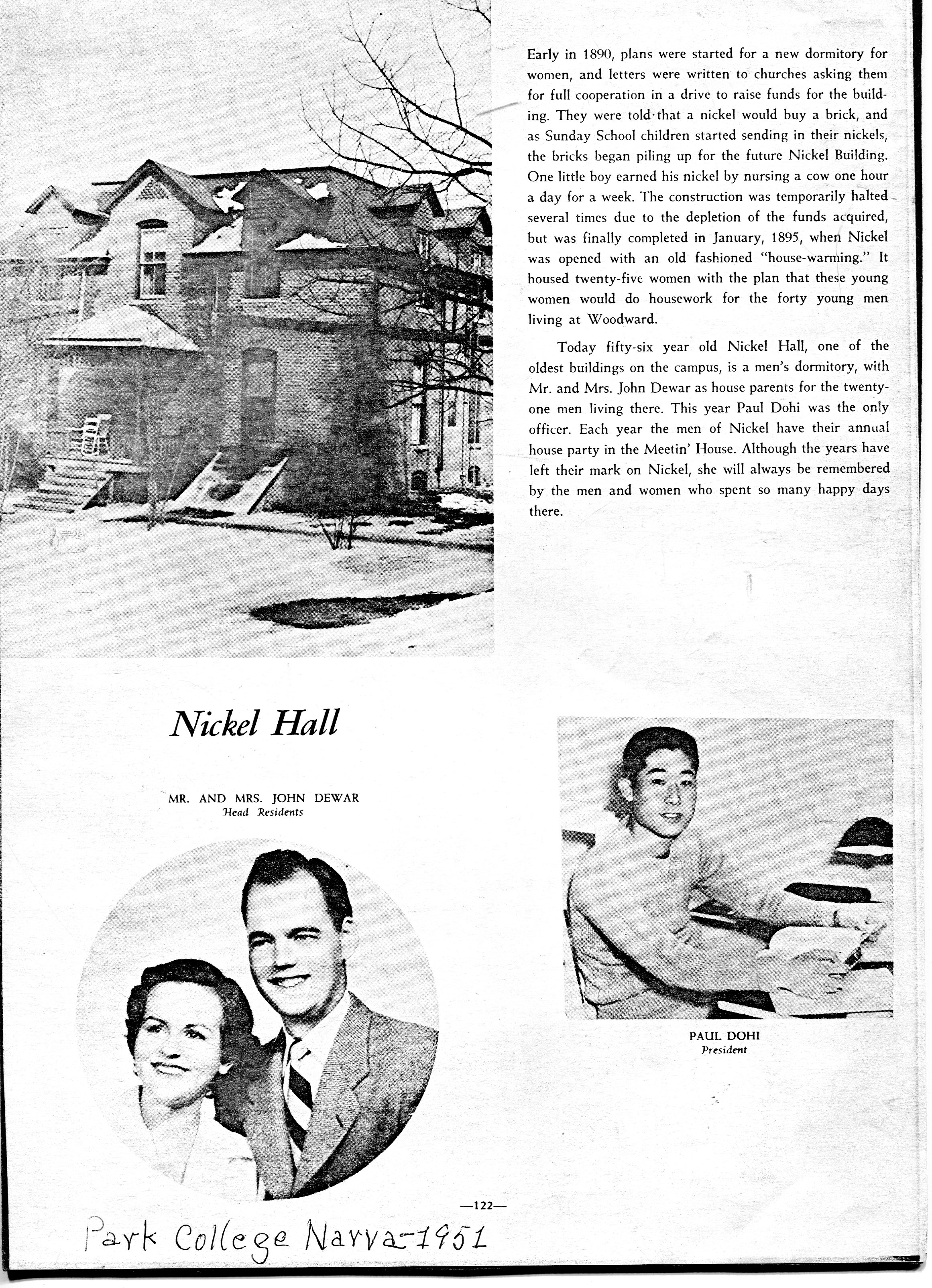 Photo of Nickel Hall in the 1951 Narva. It would be after it was converted to a men's dorm.