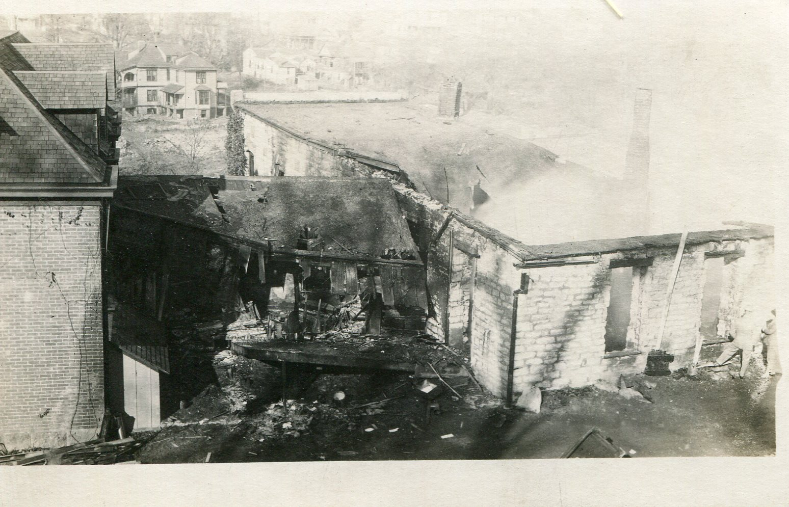 The remains of Nickel after a control burn due to structural damage caused by students in 1967. This photo is from the 1968 demolition of the building.