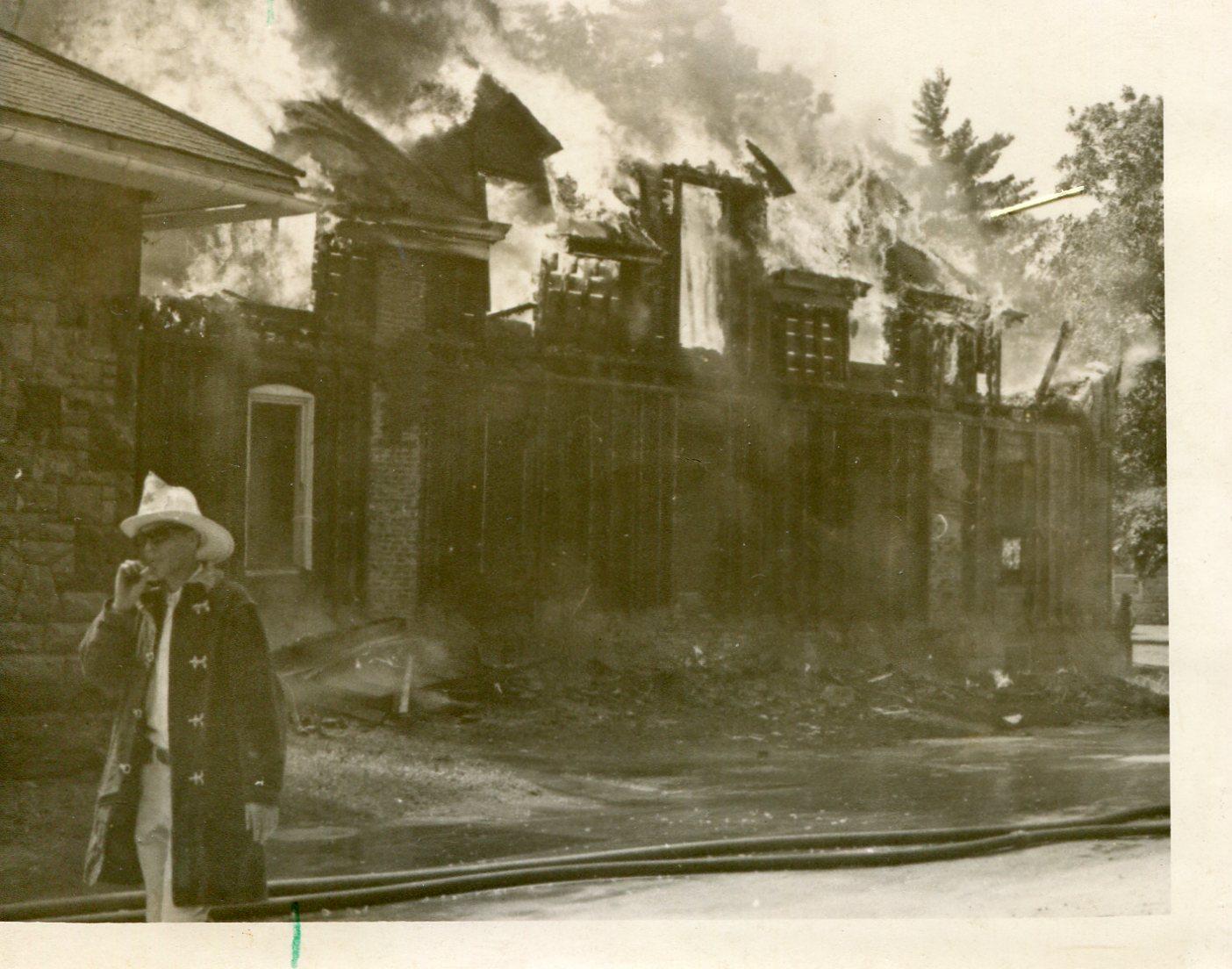 Control burn/destruction of Nickel Hall in 1968.
