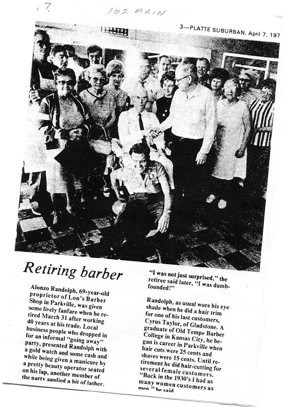 Alonzo Randolph (owner of Super Cuts for Guys & Gals) at his retirement party in the 1970s.