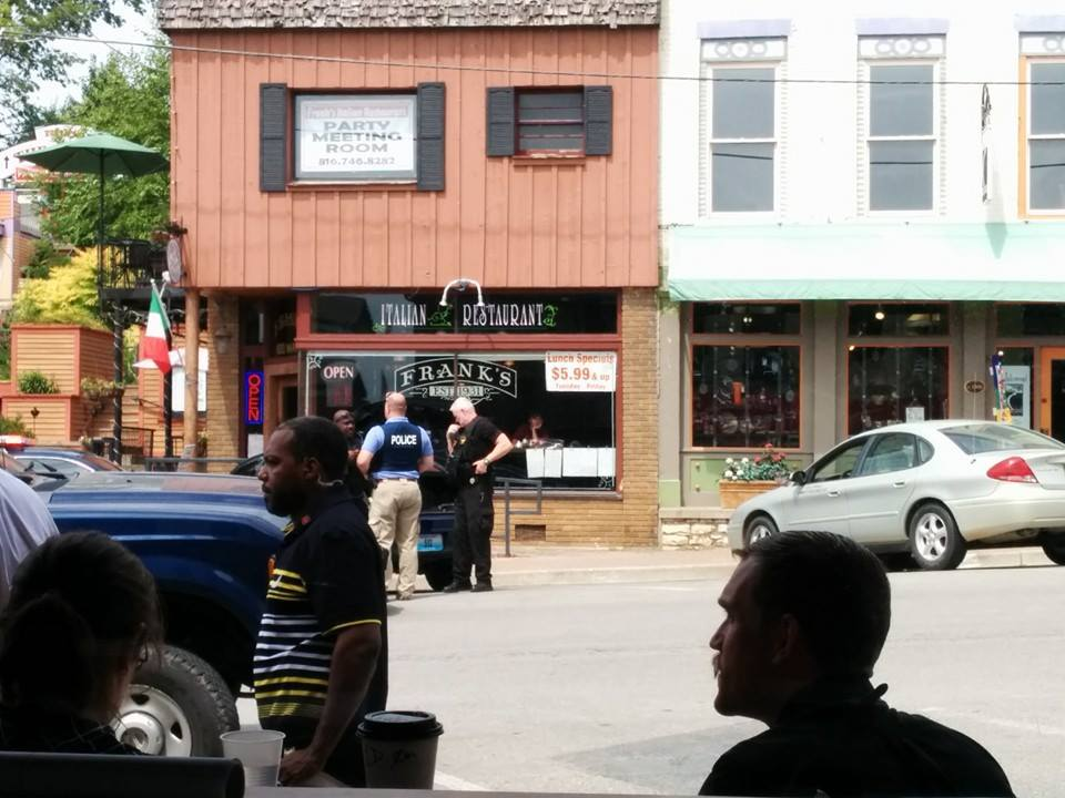Former President Barrack Obama visiting downtown Parkville in 2014. 102 Main Street is the building on the right hand side. (Photo by Fox 4).